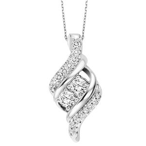 14K Ribbon Twist Diamond Two Stone Pendant