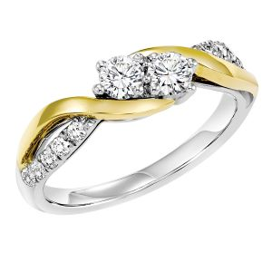 14K White + Yellow Gold Two Stone Diamond Ring