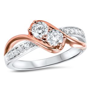 14K White + Rose Gold Two Stone Diamond Ring