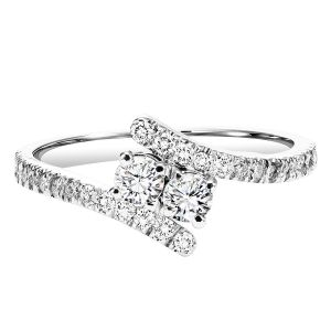 Sterling Silver Two Stone Diamond Ring
