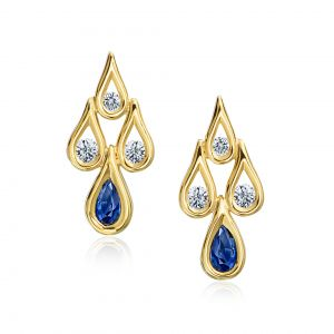 Diamond and Sapphire Drop Ear Climbers