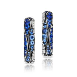 Wave Pave Sapphire and Diamond Huggie Hoop Earrings