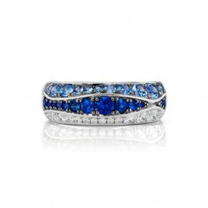 Wave Sapphire and Diamond Band