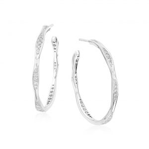 Wave White Gold Diamond Hoop