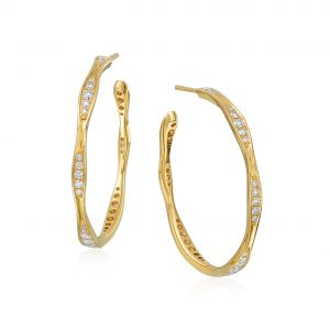 Wave Yellow Gold Diamond Hoop