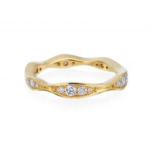 Wave Yellow Gold Narrow Eternity Diamond Band