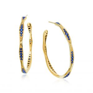 Wave Yellow Gold Sapphire Hoop