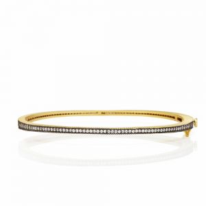 Signature Thin Pave Hinge Bangle, Black & Gold