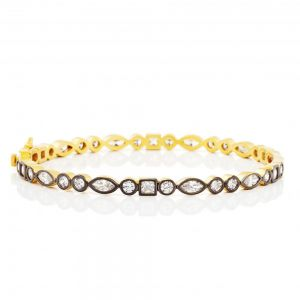 Signature Mixed Shaped Hinge Bangle, Gold & Black