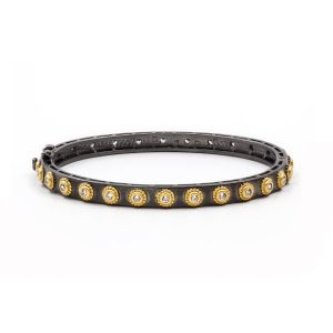 Signature Studded Eternity Hinge Bangle, Black & Gold