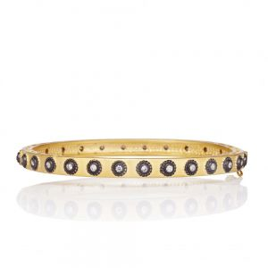 Signature Studded Eternity Hinge Bangle, Gold & Black