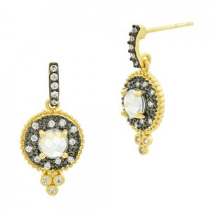 Signature Single Stone Drop Earring, Gold & Black