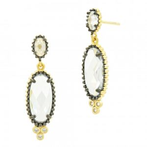 Signature Elongated Drop Earring, Gold & Black