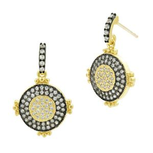 Signature Perfect Pave Dangle Earring, Gold & Black