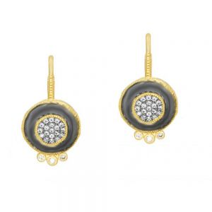 Signature Pave Disc Leverback Earrings, Gold & Black